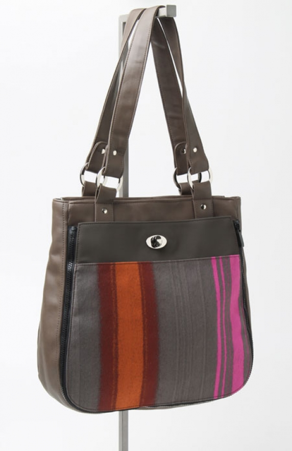 Tote with Painted Stripes Pocket