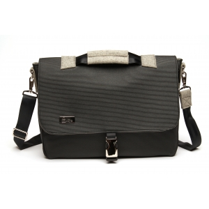 Laptop Bag - Black with nickel hardware